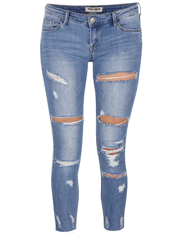 Modré dámské trhané džíny TALLY WEiJL bc153f4514