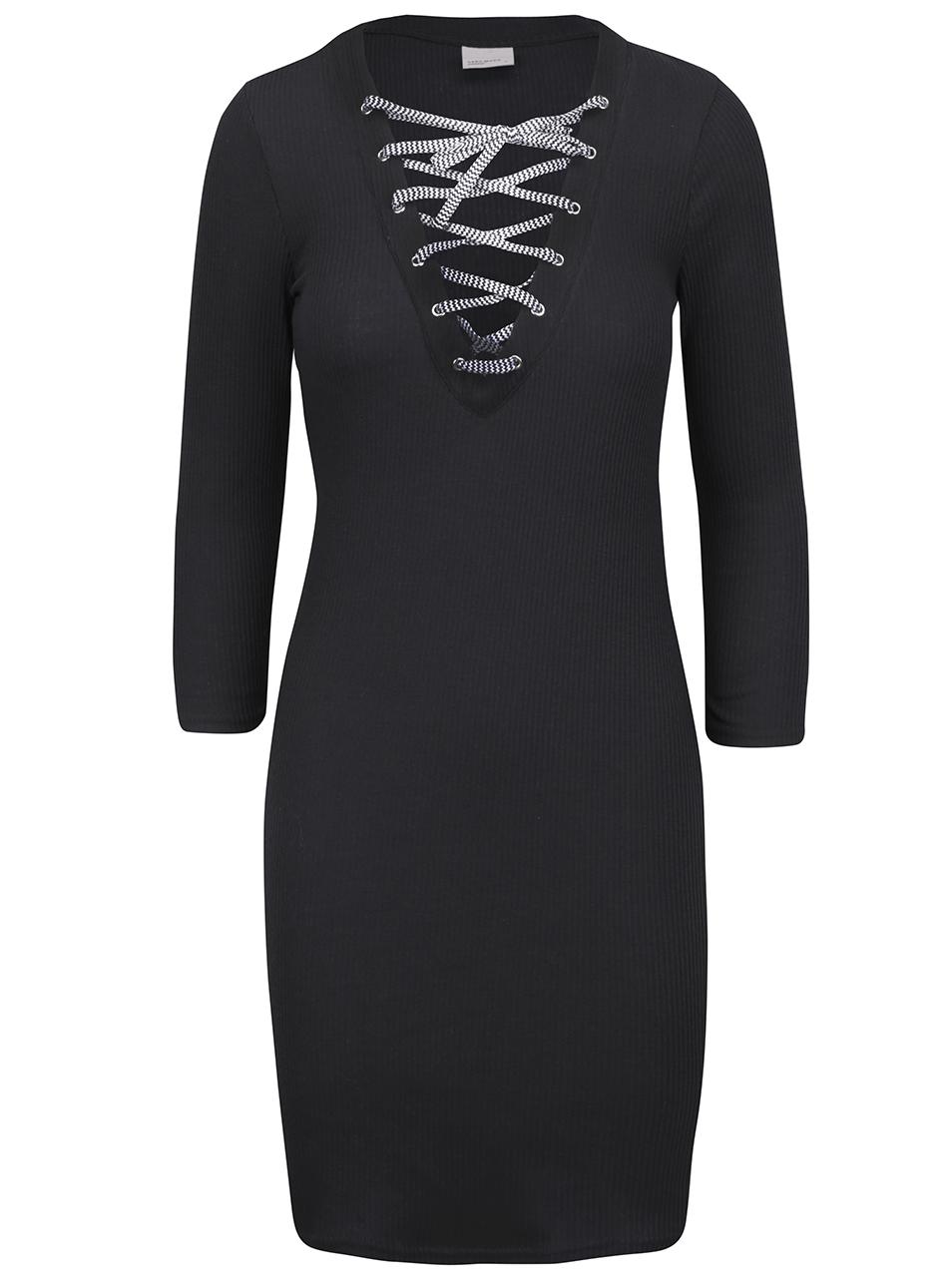 Černé dámské šaty se šněrovacím dekoltem Vero Moda 3b25ffe930