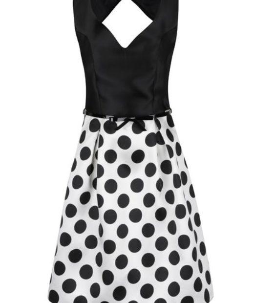 Luxusní černo-bílé puntíkaté šaty Dorothy Perkins