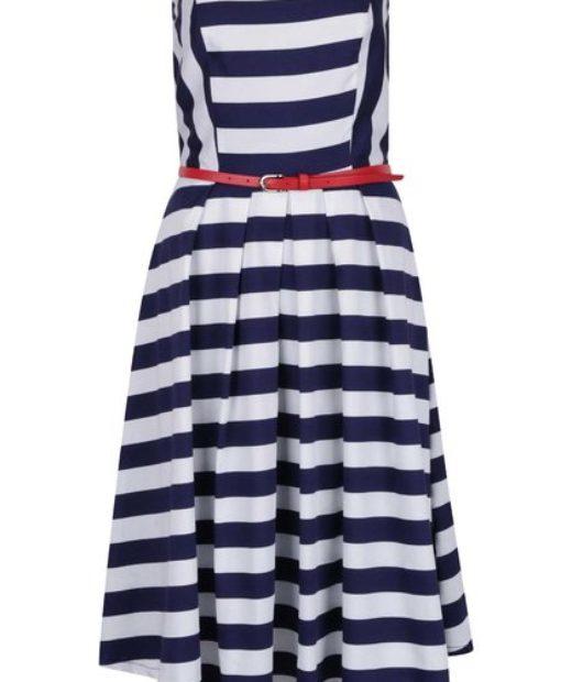 Pruhováné námořnické modro bílé šaty Dolly & Dotty Lana