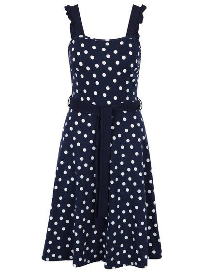 Puntíkaté šaty v tmavě modré barvě Dorothy Perkins s páskem v pase