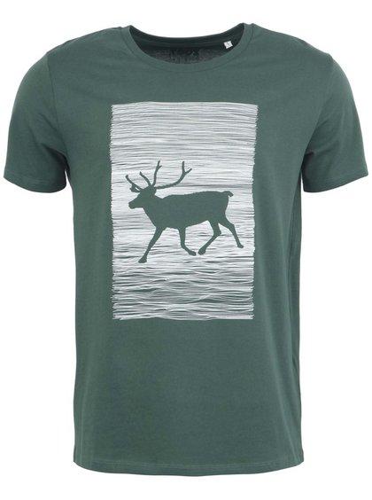 Zelené tričko s jelenem na bílém pozadí