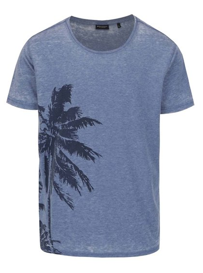 Extra jemné triko - modré, s potiskem palmy