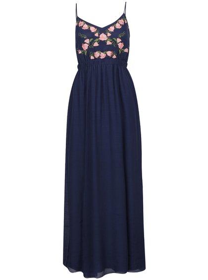 modré šaty s detaily dlouhé