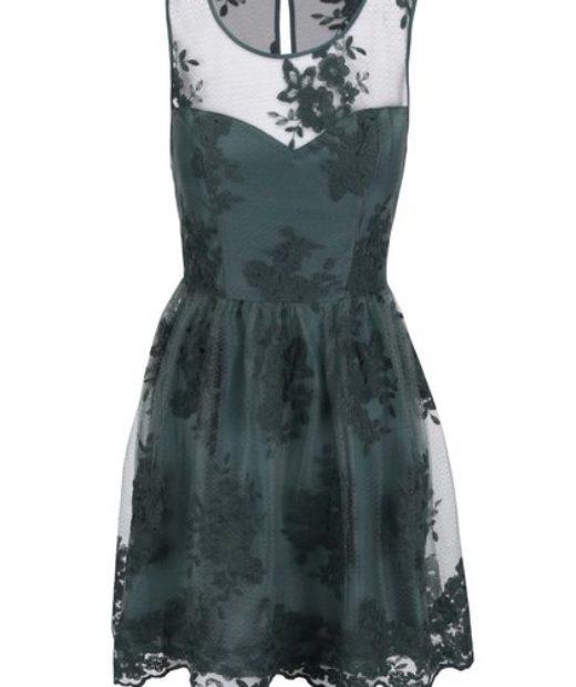 Petrolejovo zelené šaty doplněné krajkou a květovaným vzorem Apricot 192f419791