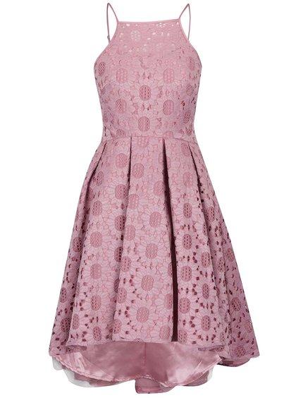 Růžové šaty s krajkou a volnými zády ChiChi London 79c5434b9a