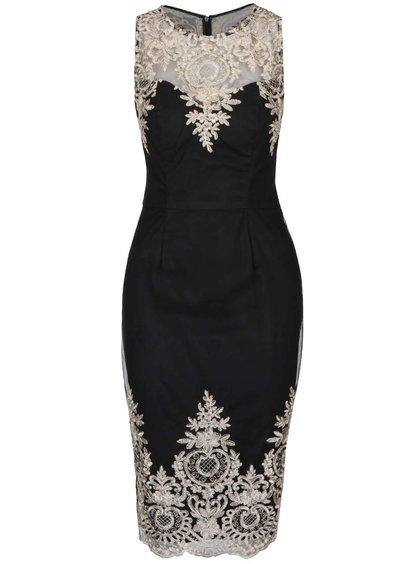 Černé upnuté šaty s krajkovými detaily ChiChi London