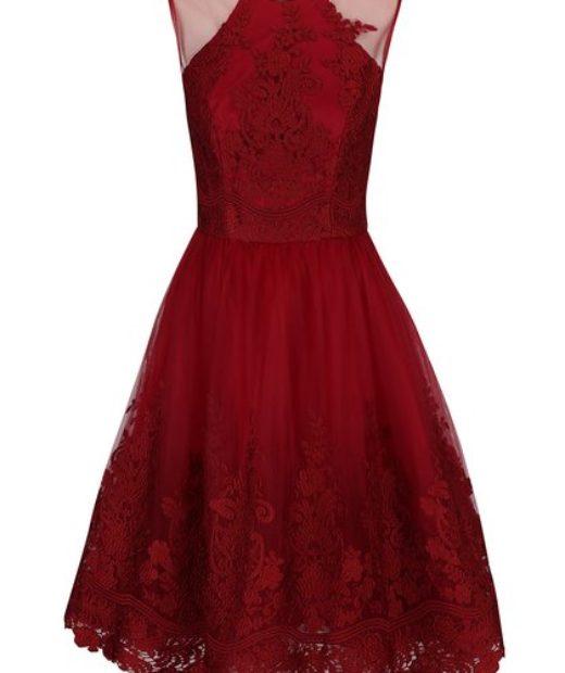 Dámské červené šaty s krajkou, bez rukávů ChiChi London