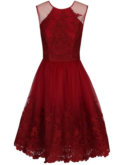 Vínovo-červené šaty s krajkou a zapínáním na zádech ChiChi London 32ea819e03