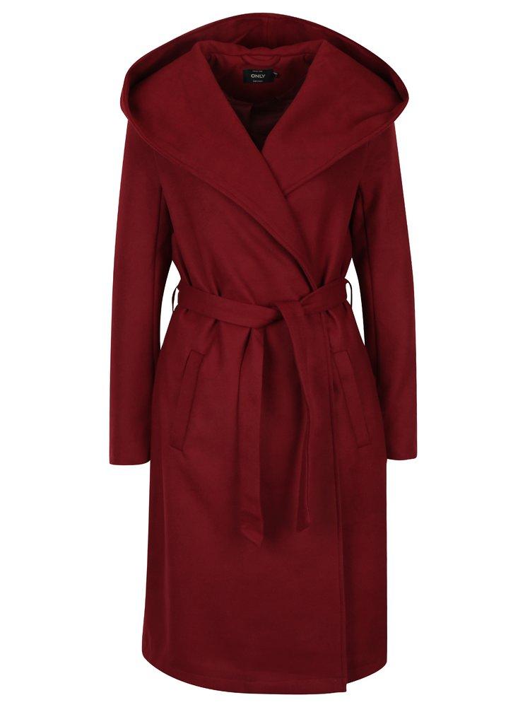 červený dámský kabát ONLY