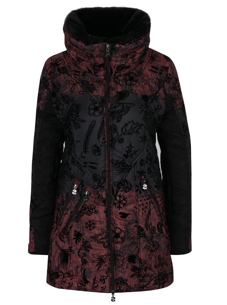 Exkluzivní kabát Desigual s vysokým límcem v černo-vínové barvě 85c3a1411e
