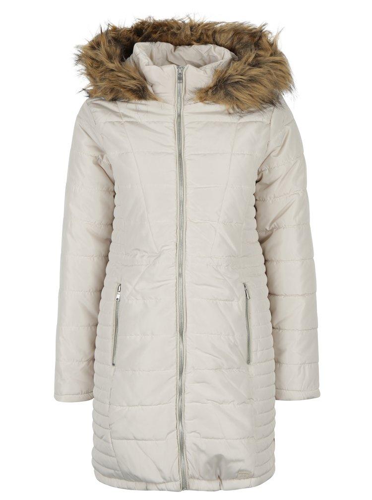 Bílý kabát s umělou kožešinou kolem krku VERO MODA 60177b26d5