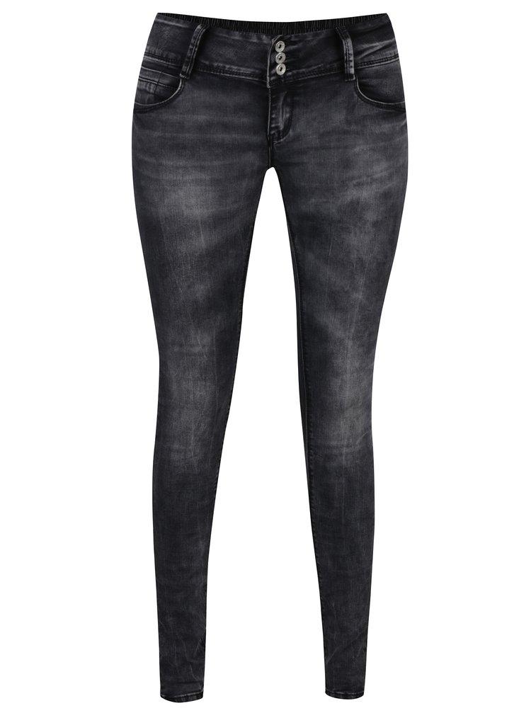 šedo-černé džíny s nízkym pasem Hailys