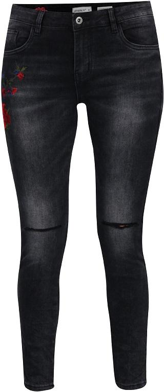 dámské šedé džíny s výšivkou Hailys