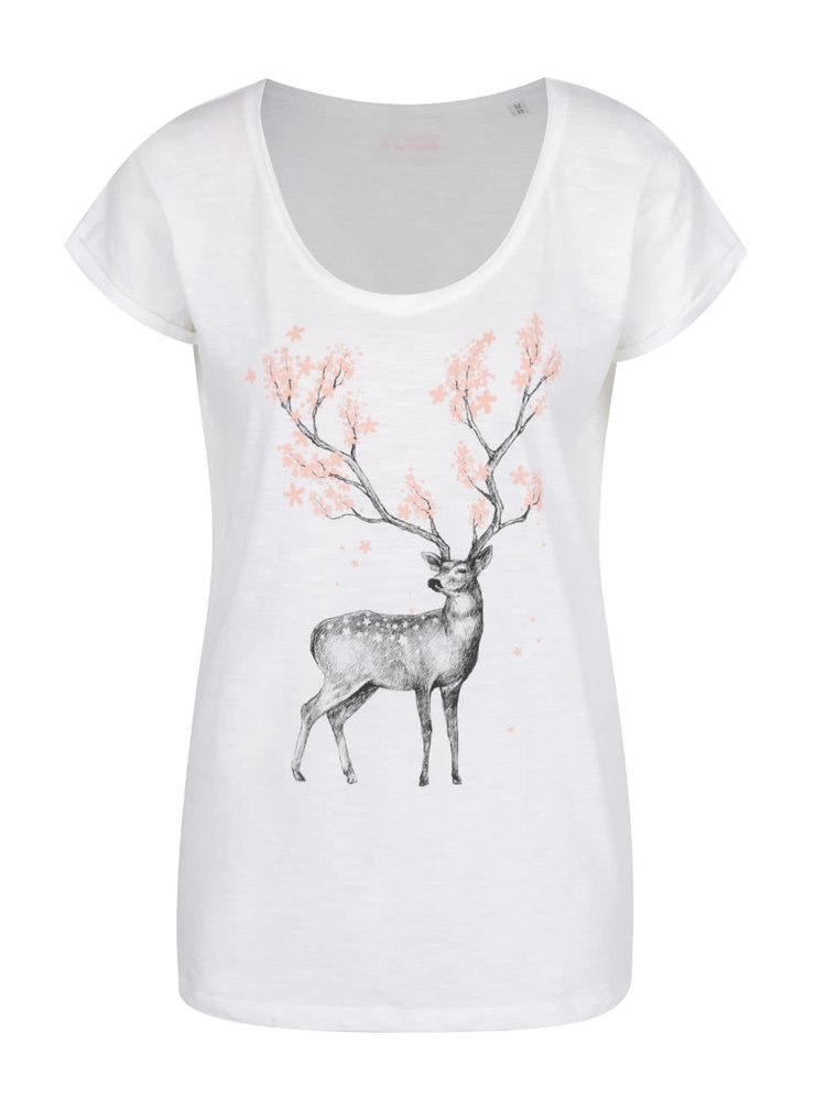81873bd9b0b Dámské příjemné bílé tričko s jelenem