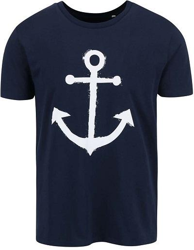 f19cf3b723a Modré pánské triko s bílou kotvou