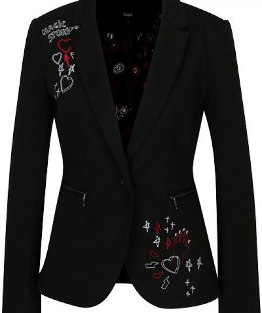 dámské černé sako Desigual s výšivkami a vzory