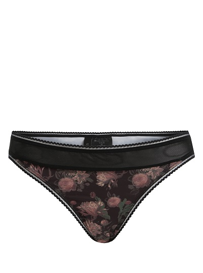dámské kalhotky květované, černé, s průhlednými detaily Y.A.S.