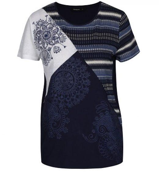 Dámské modré vzorované triko Desigual