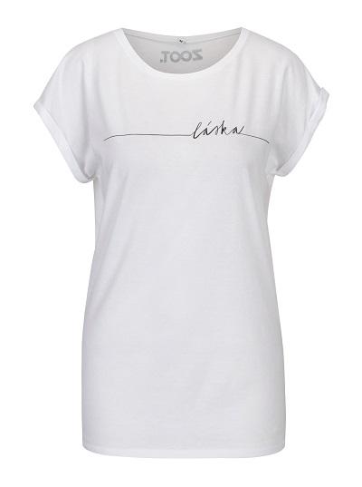 485ba02488f Příjemné bílé dámské tričko s nápisem láska - Zajímavá Móda