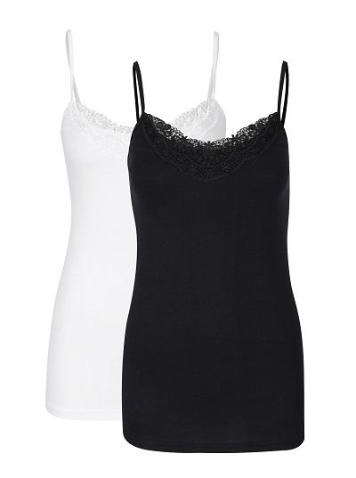 dvě dámská tílká v černo-bílé barvě Vero Moda