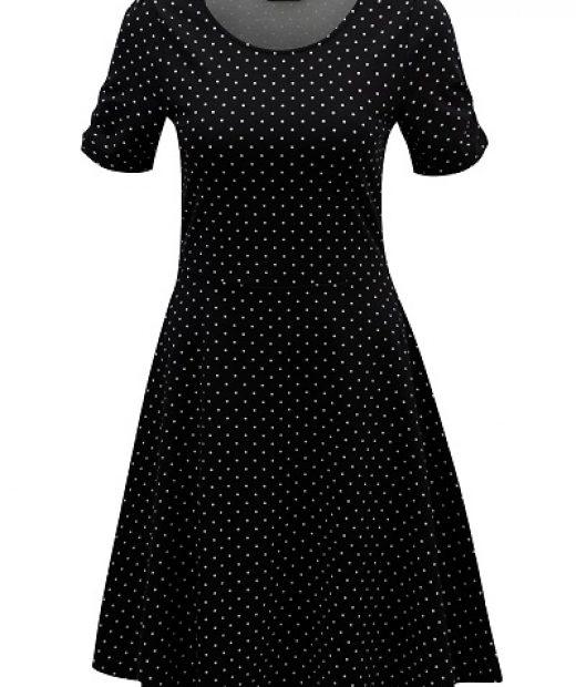 Černé puntíkaté retro tradiční letní šaty Dorothy Perkins