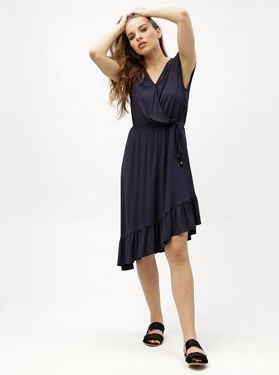 Modré asymetrické vzdušné letní šaty Vero Moda