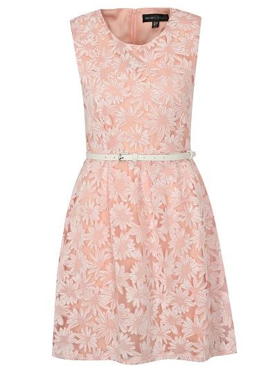 Starorůžové šaty bez výstřihu s květinovými vzory v bílé barvě, včetně pásku Mela London