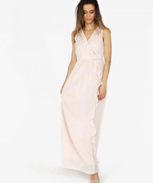 Světle růžové volné, vzdušné dlouhé šaty Vero Moda