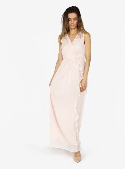 Dlouhé světlé růžové šaty Vero Moda 3ca8aef306