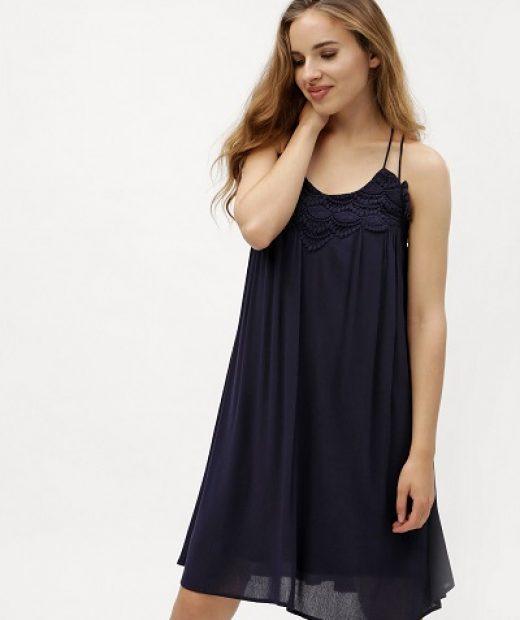 Vzdušné pohodlné modré šaty s ramínky, bez výstřihu Vero Moda