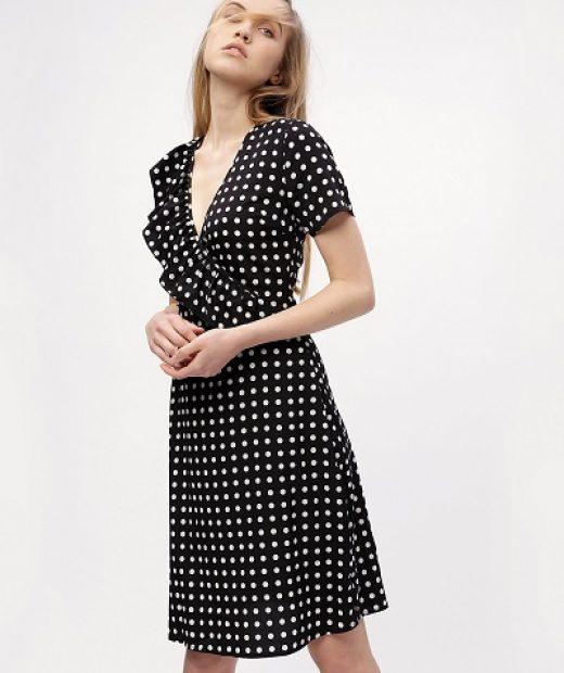 Černé puntíkaté šaty Missguided