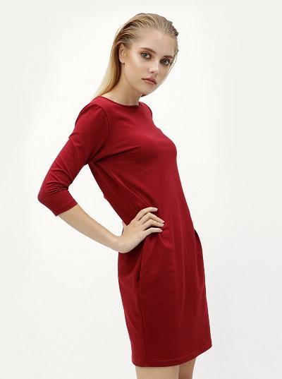 3af9582215b Vínové šaty s dlouhým rukávem bez výstřihu
